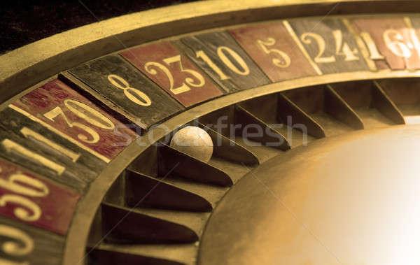 Palla vecchio roulette numeri soldi metal Foto d'archivio © ABBPhoto