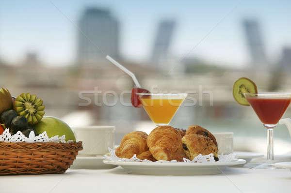 Desayuno terraza Madrid hotel edificios alimentos Foto stock © ABBPhoto