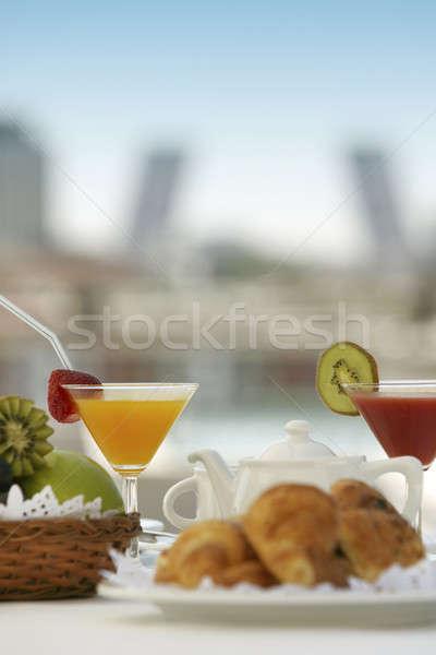 Desayuno terraza bebidas Madrid edificios alimentos Foto stock © ABBPhoto