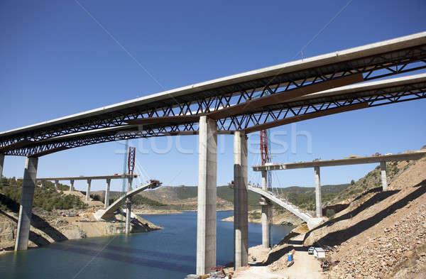 Köprü inşaat demiryolu gökyüzü çalışmak Stok fotoğraf © ABBPhoto