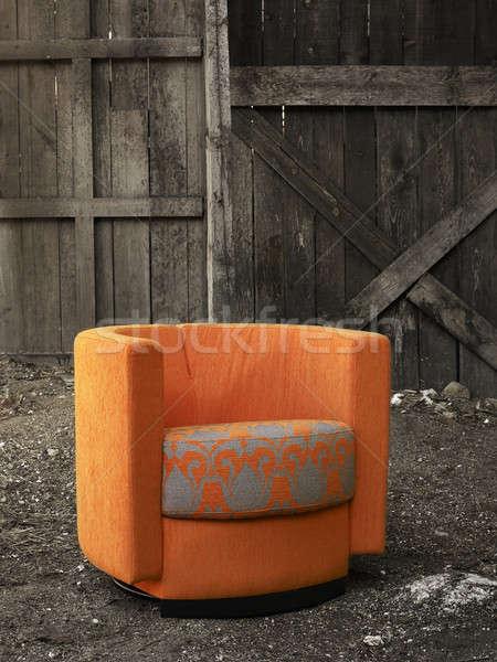 Sillón naranja rural madera puerta blanco negro Foto stock © ABBPhoto