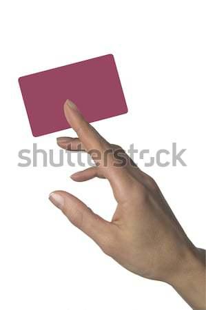 女性 手 クレジットカード 孤立した 白 ビジネス ストックフォト © ABBPhoto