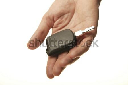 車のキー 人の手 孤立した 白 金属 男性 ストックフォト © ABBPhoto