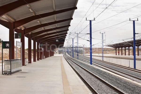 Сток-фото: железнодорожная · станция · часы · информации · электроэнергии · железная · дорога · никто