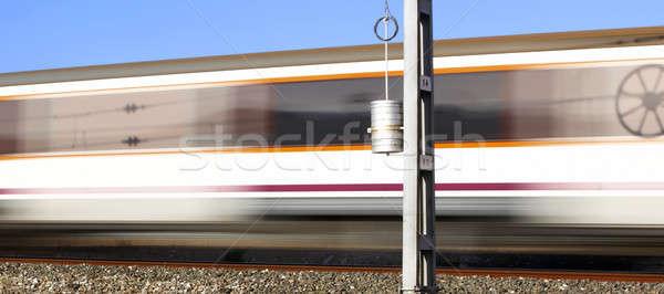 поезд движения пост Blue Sky город скорости Сток-фото © ABBPhoto