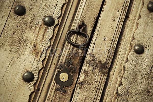 Foto stock: Edad · bloqueo · vintage · puerta · casa