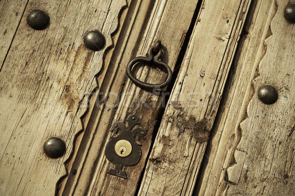 старые блокировка Vintage двери домой Сток-фото © ABBPhoto