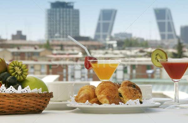 Сток-фото: завтрак · терраса · Мадрид · отель · зданий