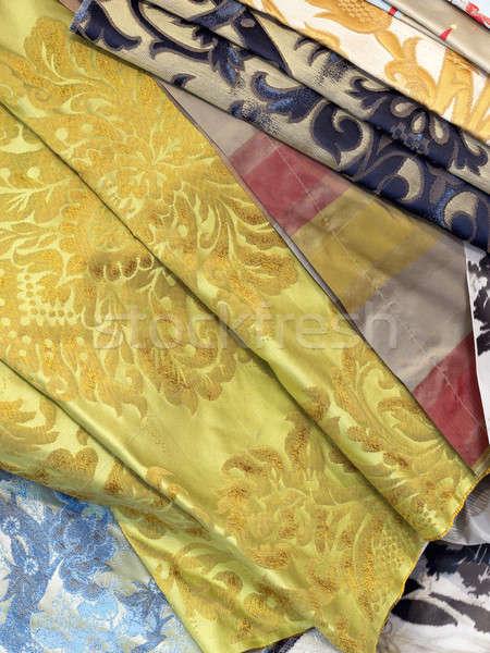 Zijde textielindustrie omhoog satijn weefsel Stockfoto © ABBPhoto