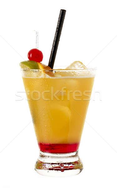 Stockfoto: Drinken · cocktail · witte · verticaal · glas · ijs