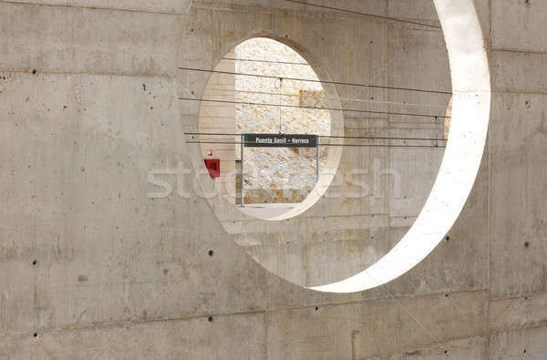 Concrete walls on a train station Stock photo © ABBPhoto