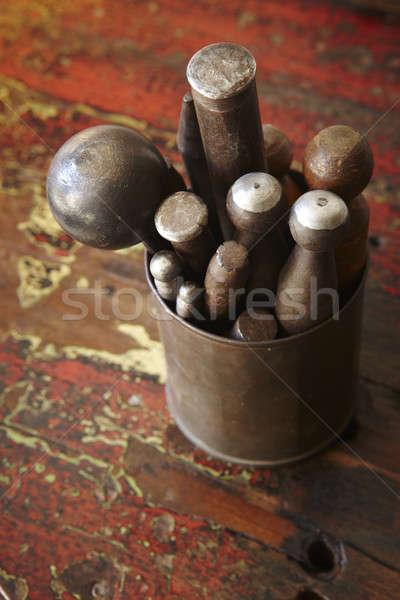 инструменты коллекция антикварная вертикальный толпа Сток-фото © ABBPhoto