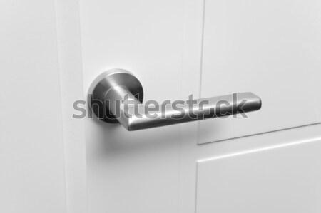 Puerta detalle metálico blanco horizontal Foto stock © ABBPhoto