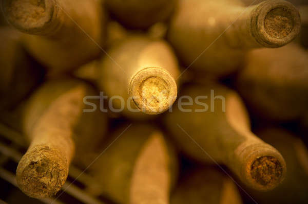 Wine bottles in an aging cellar Stock photo © ABBPhoto
