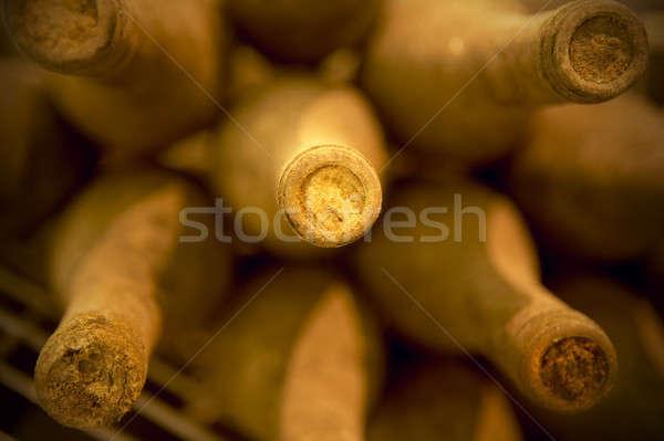 şarap şişeler yaşlanma bodrum eski süreç Stok fotoğraf © ABBPhoto