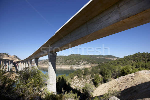 железная дорога шоссе мостами пейзаж Blue Sky моста Сток-фото © ABBPhoto