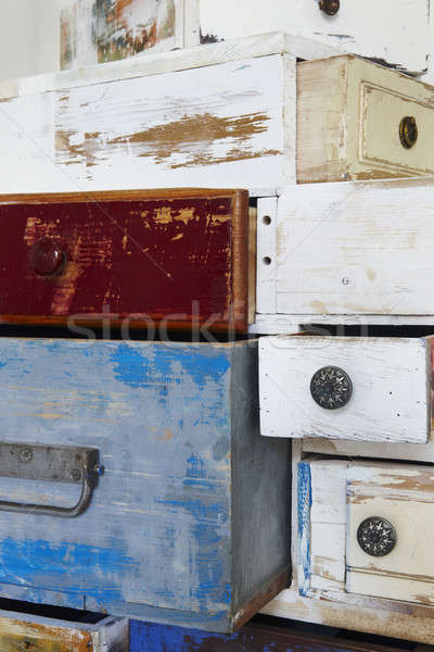 Painted wooden drawers Stock photo © ABBPhoto