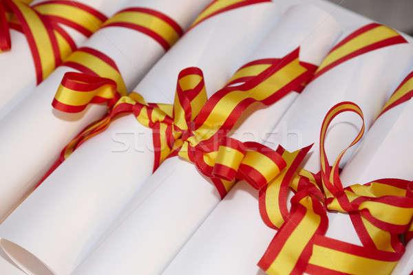 группа испанский флаг бизнеса лента документа Сток-фото © ABBPhoto