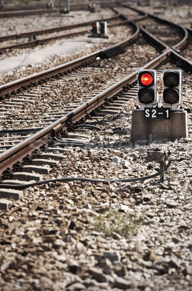 Railway line with red light alert Stock photo © ABBPhoto