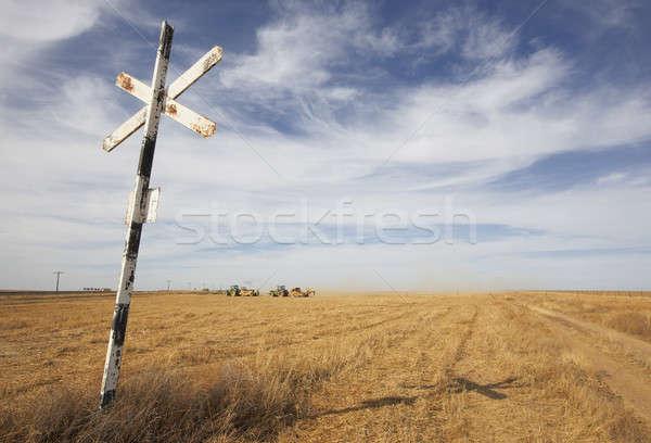 列車 信号 交差点 麦畑 地球 砂 ストックフォト © ABBPhoto
