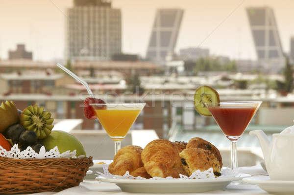завтрак терраса Мадрид отель зданий продовольствие Сток-фото © ABBPhoto