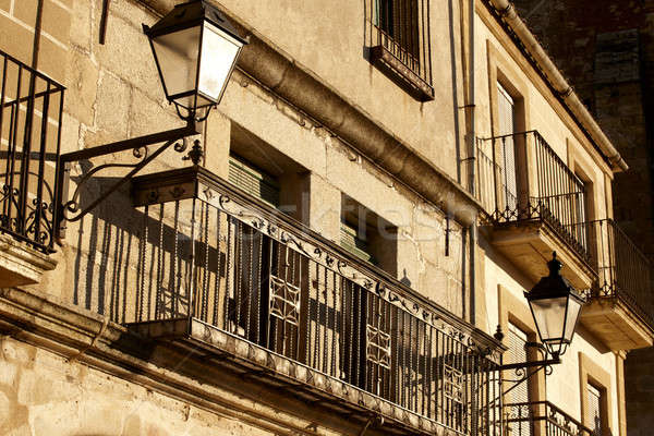 Shot balkon miasta Hiszpania domu Zdjęcia stock © ABBPhoto