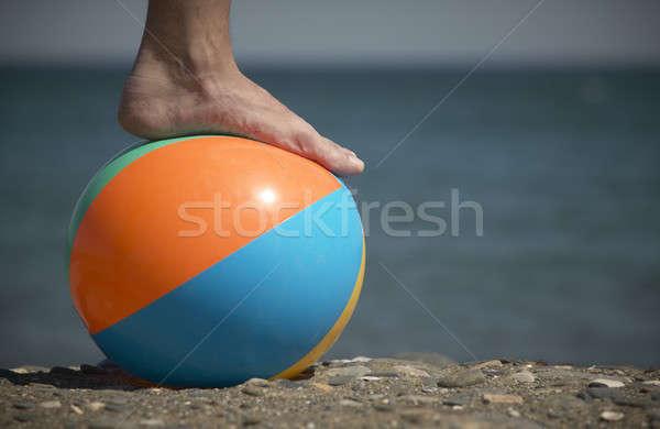 ногу мяча пляж морем из Focus Сток-фото © ABBPhoto