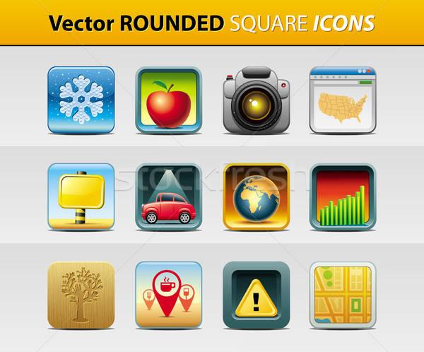 квадратный иконки вектора набор 12 текстуры Сток-фото © abdulsatarid