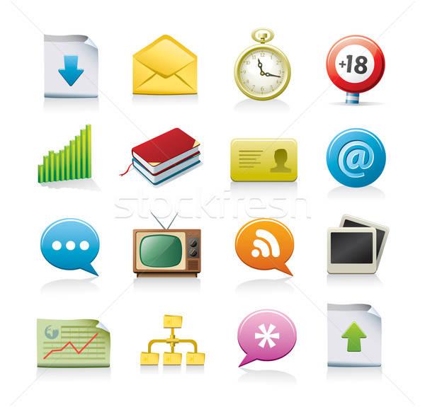 веб-иконы 16 изолированный белый веб золото Сток-фото © abdulsatarid