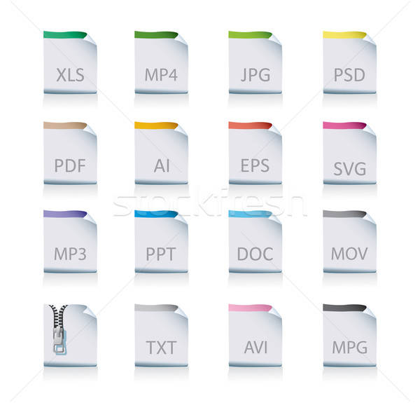 Stock photo: document icon set