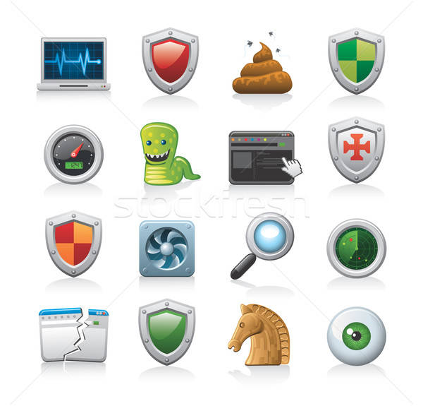 computer security icons Stock photo © abdulsatarid