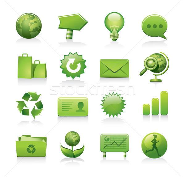 зеленый иконки экология бумаги дизайна Сток-фото © abdulsatarid