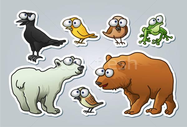 Rajzolt állatok vektor illusztrált szett különböző állatok Stock fotó © abdulsatarid