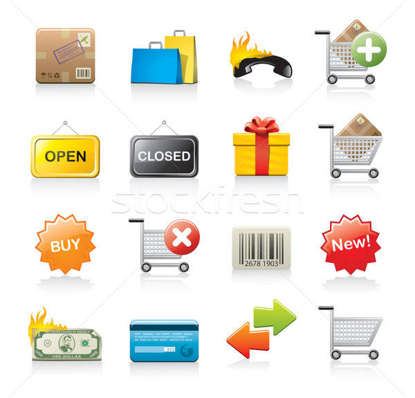 shopping icon set Stock photo © abdulsatarid