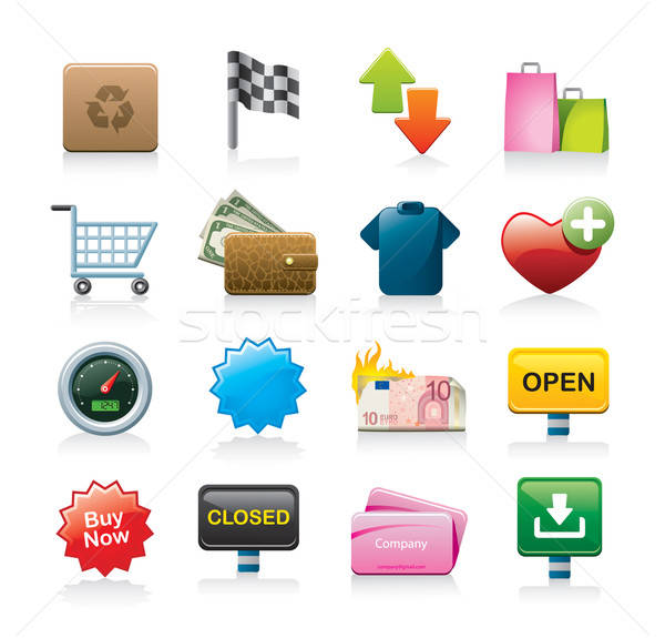 shopping icons Stock photo © abdulsatarid