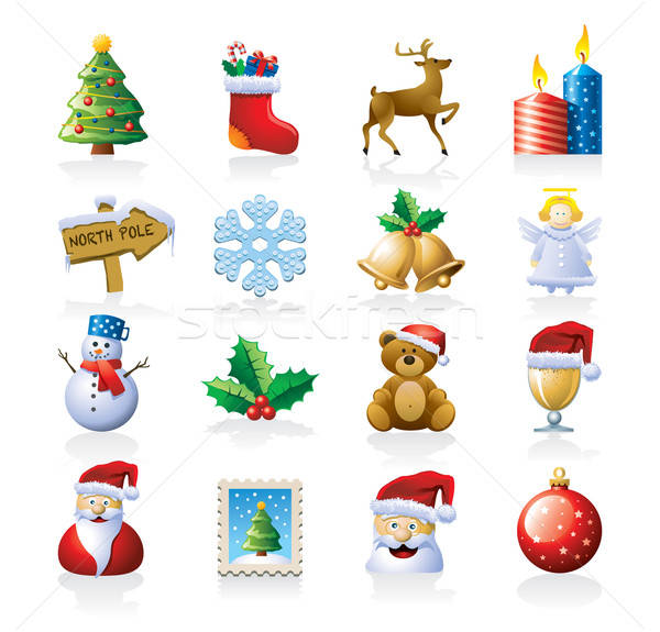 Weihnachten 16 Symbole isoliert weiß Stock foto © abdulsatarid