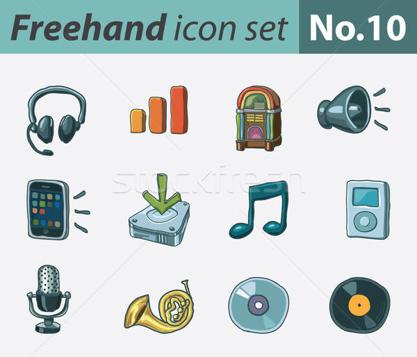 Freehand icons - audio Stock photo © abdulsatarid