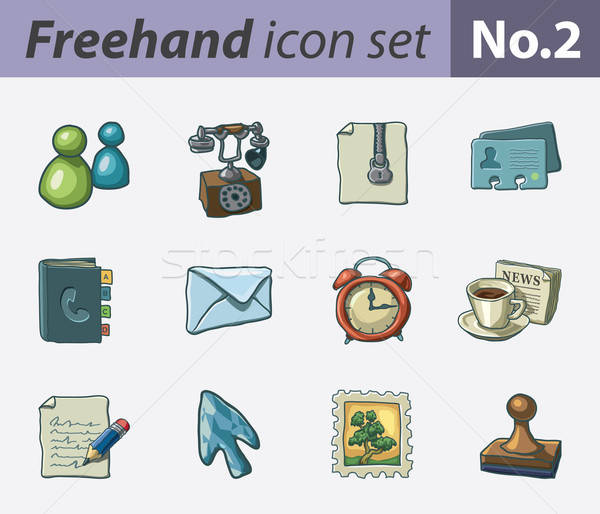 Freehand icons - office Stock photo © abdulsatarid