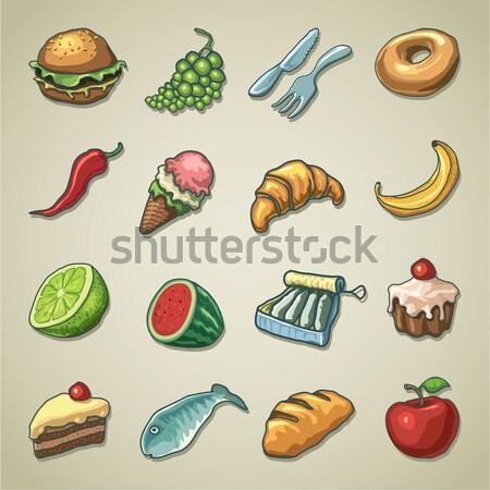 иконки продовольствие питание вектора прибыль на акцию Сток-фото © abdulsatarid