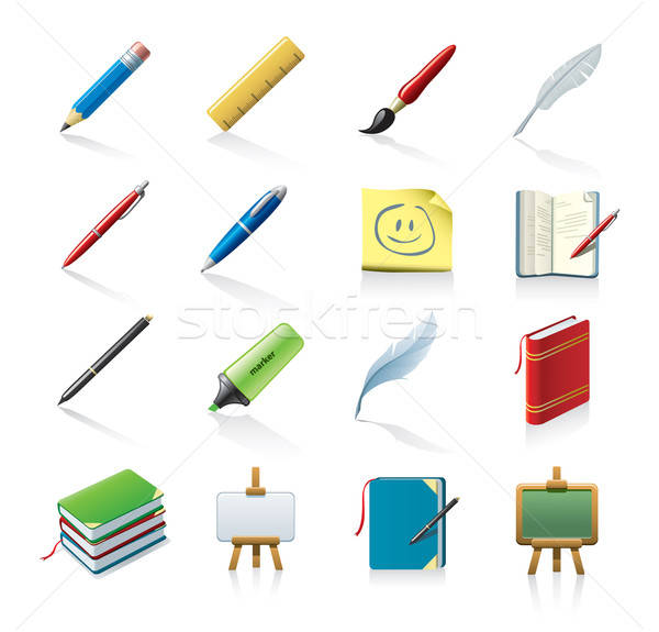 drawing and painting related icon set Stock photo © abdulsatarid