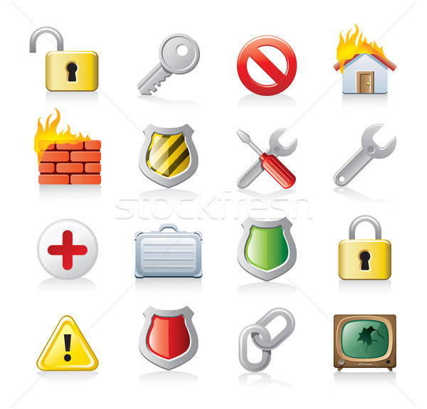 security icon set Stock photo © abdulsatarid