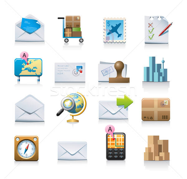 shipping and messaging icons Stock photo © abdulsatarid