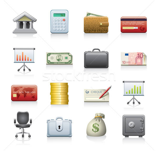 financial icon set Stock photo © abdulsatarid
