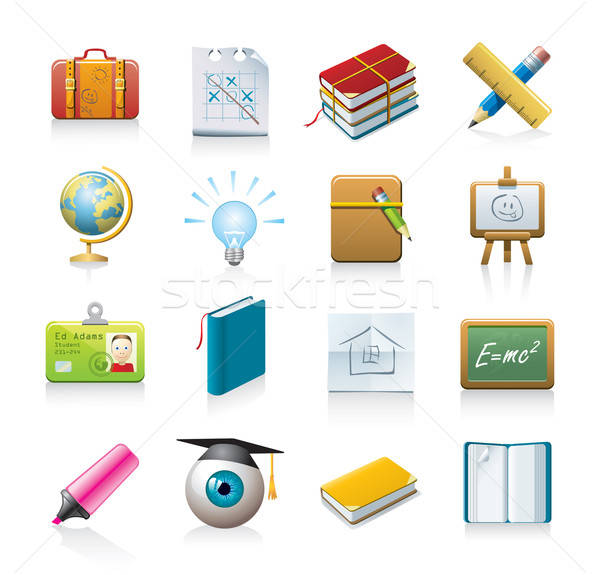 school icon set Stock photo © abdulsatarid