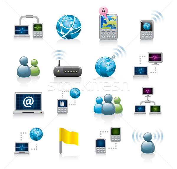 networking icon set Stock photo © abdulsatarid