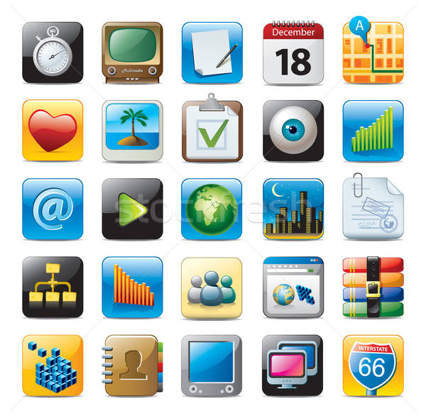 multimedia icons Stock photo © abdulsatarid