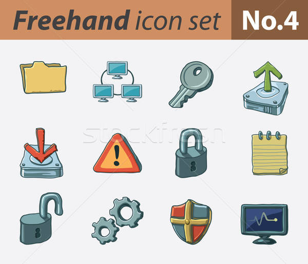 Freehand icons - security Stock photo © abdulsatarid