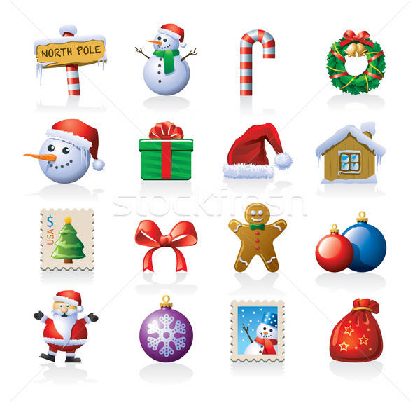 Christmas icon set Stock photo © abdulsatarid