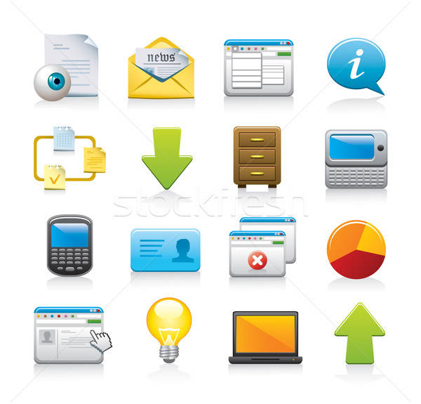 web icon set Stock photo © abdulsatarid