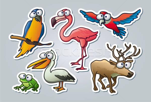 вектора иллюстрированный набор различный животные Сток-фото © abdulsatarid